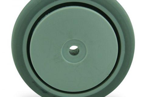 Τροχός 75mm για καρότσι ελαφρύ,με τροχό από Γκρι λάστιχο χωρίς ρουλεμάν με πλαστικά καπάκια.