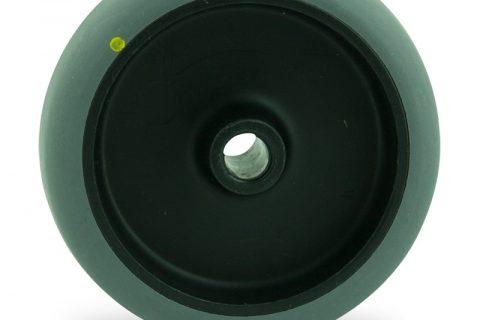 Ηλεκτροαγώγιμος τροχός 100mm για καρότσι ελαφρύ,με τροχό από Γκρι λάστιχο χωρίς ρουλεμάν.