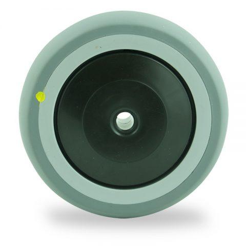 Ηλεκτροαγώγιμος τροχός 125mm για καρότσι ελαφρύ,με τροχό από Γκρι λάστιχο με σφαιρικά ρουλεμάν και πλαστικά καπάκια