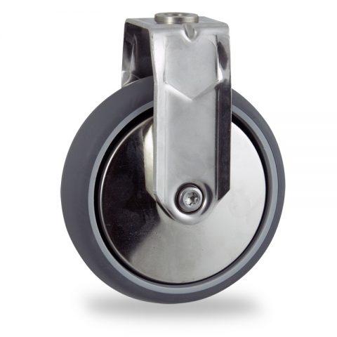 Ανοξείδωτη σταθερή ρόδα 75mm για καρότσι ελαφρύ,με τροχό από Γκρι λάστιχο χωρίς ρουλεμάν με μεταλλικά καπάκια.Προσαρμογή με τρύπα.