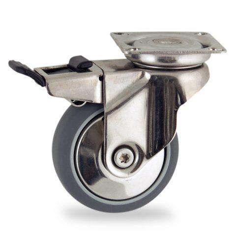 Ανοξείδωτη ρόδα με φρένο 100mm για καρότσι ελαφρύ,με τροχό από Γκρι λάστιχο χωρίς ρουλεμάν με μεταλλικά καπάκια.Προσαρμογή με πλάκα.