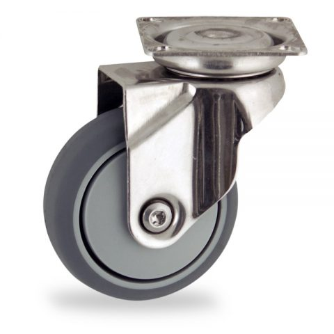 Stainless swivel castor 50mm for light trolleys,wheel made of grey rubber,precision bearing.Top plate fitting