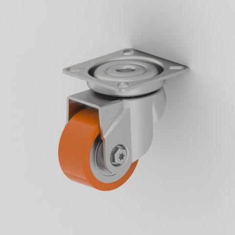 Περιστρεφόμενη ρόδα 50mm βαρύ φορτίο,με τροχό από πολυουρεθάνη με σφαιρικά ρουλεμάν.Προσαρμογή με πλάκα.
