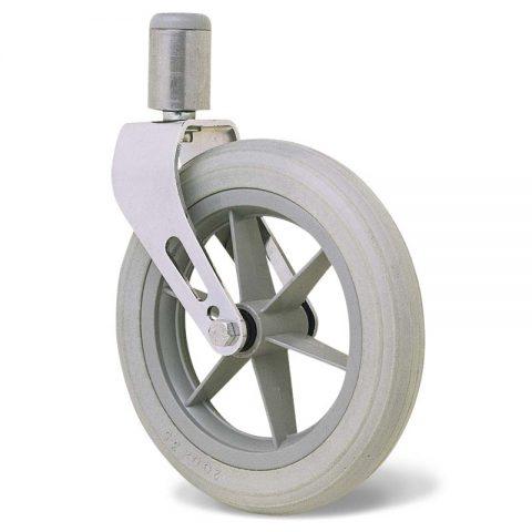 Ρόδα για αναπηρικό καρότσι 200mm με πολυουρεθάνη και σφαιρικά ρουλεμάν και προσαρμογή με πείρο