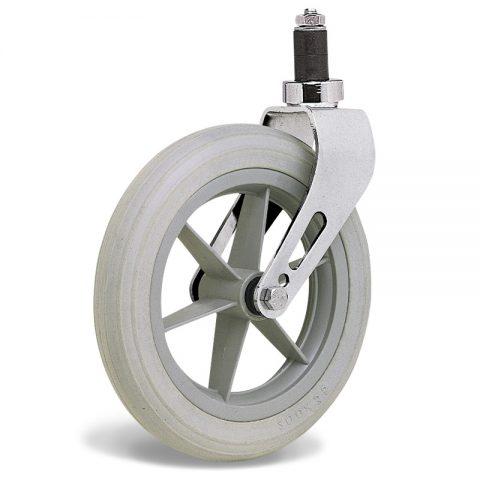 Ρόδα για αναπηρικό καρότσι 200mm με πολυουρεθάνη και σφαιρικά ρουλεμάν και προσαρμογή με διαστολή