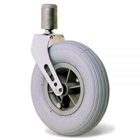 Ρόδα για αναπηρικό καρότσι 200mm με γκρι λάστιχο και σφαιρικά ρουλεμάν και προσαρμογή με πείρο