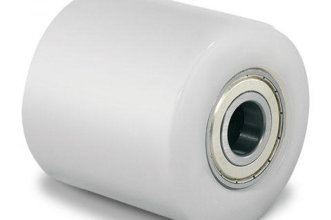 Μπροστινός τροχός για παλετοφόρο 85mmΧ85mm, από νάυλον με διπλά σφαιρικά ρουλεμάν και άξονα 20mm