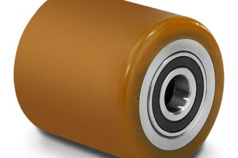Μπροστινός τροχός για παλετοφόρο 85mmΧ70mm, από πολυουρεθάνη με διπλά σφαιρικά ρουλεμάν και άξονα 20mm
