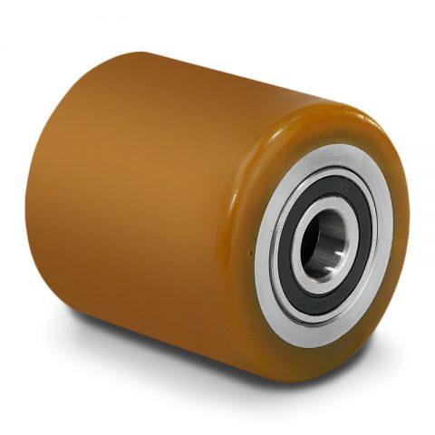 Τροχός φορτίου για ηλεκτροκίνητο παλετοφόρο 80mmΧ59,5mm, από πολυουρεθάνη με διπλά σφαιρικά ρουλεμάν και άξονα 20mm