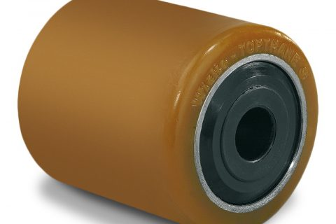 Τροχός φορτίου για ηλεκτροκίνητο παλετοφόρο 85mmΧ80mm, από πολυουρεθάνη με διπλά σφαιρικά ρουλεμάν και άξονα 25mm