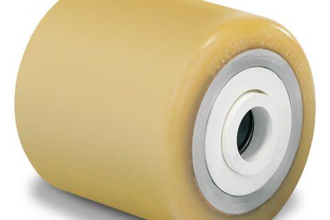 Τροχός φορτίου για ηλεκτροκίνητο παλετοφόρο 85mmΧ105mm, από πολυουρεθάνη με διπλά σφαιρικά ρουλεμάν και άξονα 25mm