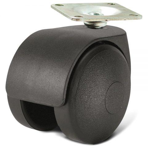 Ρόδα για καρέκλα γραφείου και για έπιπλα 40mm με πλάκα 27x27mm
