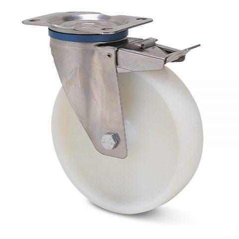 Ανοξείδωτη ρόδα με φρένο  για καρότσι 150mm από νάυλον με μακαρωνοτό ρουλεμάν.Προσαρμογή με πλάκα.