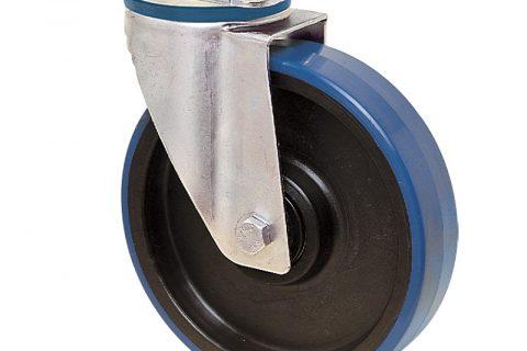 Ανοξείδωτη περιστρεφόμενη ρόδα για καρότσι 125mm από πλαστική πολυουρεθάνη με μακαρωνοτό ρουλεμάν.Προσαρμογή με πλάκα.