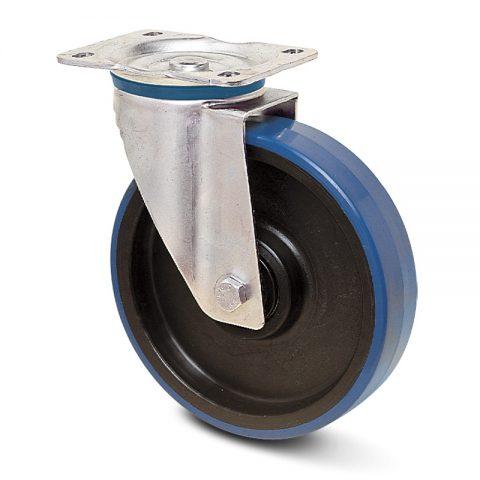 Ανοξείδωτη περιστρεφόμενη ρόδα για καρότσι 150mm από πλαστική πολυουρεθάνη με μακαρωνοτό ρουλεμάν.Προσαρμογή με πλάκα.