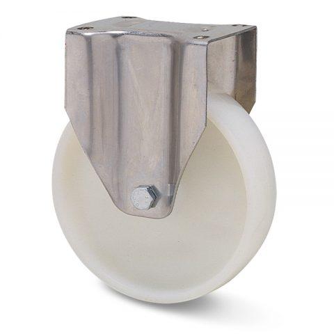 Ανοξείδωτη σταθερή ρόδα για καρότσι 150mm από νάυλον με μακαρωνοτό ρουλεμάν.Προσαρμογή με πλάκα.