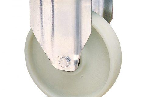 Ανοξείδωτη σταθερή ρόδα για καρότσι 125mm από νάυλον+fiber glass χωρίς ρουλεμάν.Προσαρμογή με πλάκα.