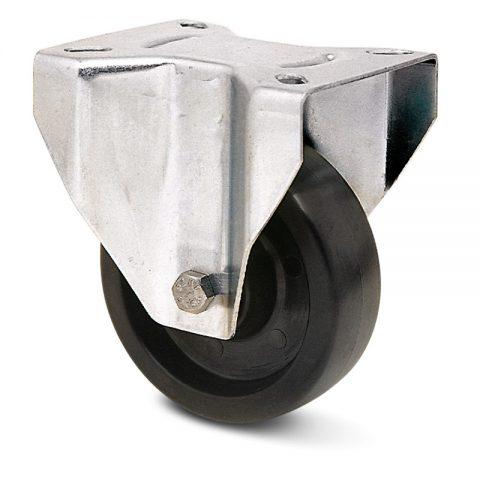 Ανοξείδωτη σταθερή ρόδα   για φούρνους 80mm από τροχό υψηλών θερμοκρασιών χωρίς ρουλεμάν.Προσαρμογή με πλάκα.