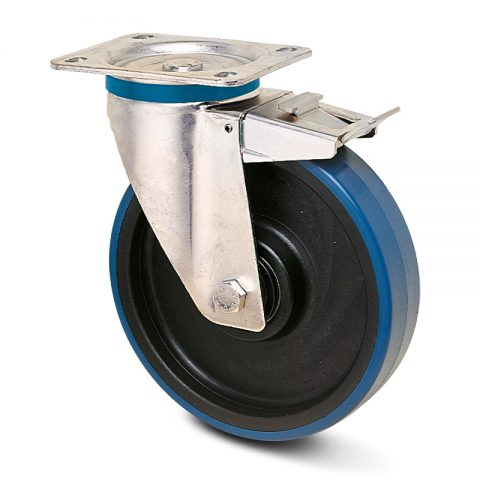 Ανοξείδωτη ρόδα με φρένο  για καρότσι 200mm από πλαστική πολυουρεθάνη με μακαρωνοτό ρουλεμάν.Προσαρμογή με πλάκα.