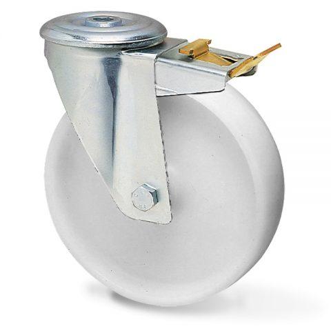Ρόδα με φρένο για καρότσι 125mm από νάυλον, χωρίς ρουλεμάν.Προσαρμογή με τρύπα.