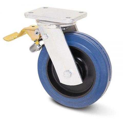 Βαρέως τύπου ρόδα με φρένο 160mm με μπλε λάστιχο,ζάντα πλαστικιά με μακαρωνοτό ρουλεμάν.Προσαρμογή με πλάκα.