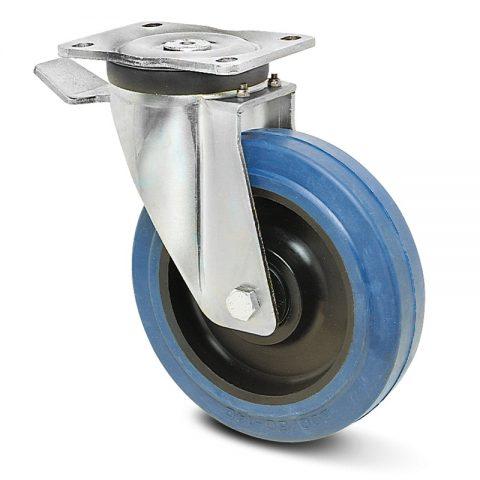 Ρόδα με φρένο βαρέως τύπου160mm με μπλε λάστιχο,ζάντα πλαστικιά με μακαρωνοτό ρουλεμάν.Προσαρμογή με πλάκα.