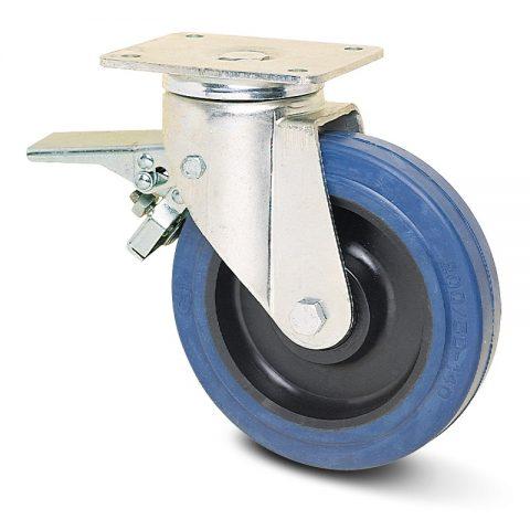 Ρόδα με φρένο για βαριές εφαρμογές 100mm με μπλε λάστιχο,ζάντα πλαστικιά με μακαρωνοτό ρουλεμάν.Προσαρμογή με πλάκα.