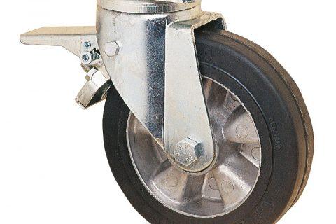 Ρόδα με φρένο για βαριές εφαρμογές125mm με μαύρο λάστιχο,ζάντα από αλουμίνιο και σφαιρικά ρουλεμάν.Προσαρμογή με πλάκα.