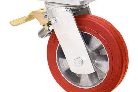 Ρόδα με φρένο βαρέως τύπου 160mm από πολυουρεθάνη με ζάντα αλουμινένια με σφαιρικά ρουλεμάν.Προσαρμογή με πλάκα.