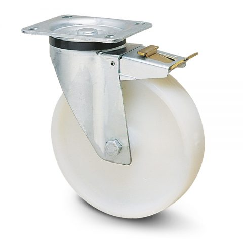 Ρόδα με φρένο για καρότσι 80mm από νάυλον, χωρίς ρουλεμάν.Προσαρμογή με πλάκα.