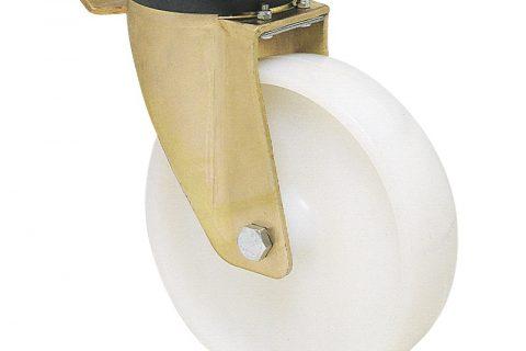 Ρόδα με φρένο βαρέως τύπου 125mm από νάυλον με σφαιρικά ρουλεμάν.Προσαρμογή με πλάκα.