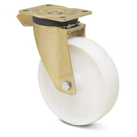 Ρόδα με φρένο βαρέως τύπου 200mm από νάυλον με σφαιρικά ρουλεμάν.Προσαρμογή με πλάκα.