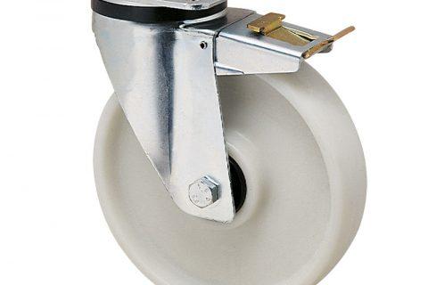 Ρόδα με φρένο για καρότσι 100mm από νάυλον+fiber glass με σφαιρικά ρουλεμάν.Προσαρμογή με πλάκα.
