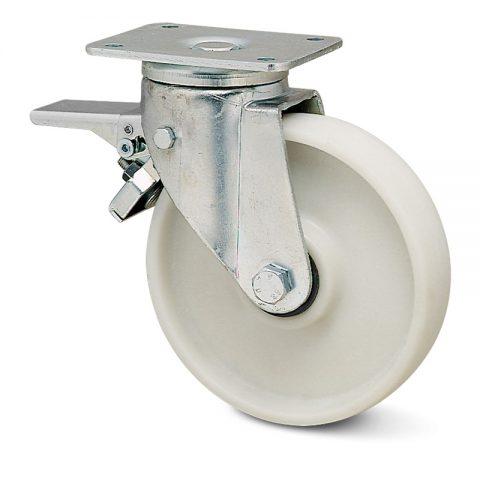 Ρόδα με φρένο για βαριές εφαρμογές 100mm από νάυλον+fiber glass με σφαιρικά ρουλεμάν.Προσαρμογή με πλάκα.