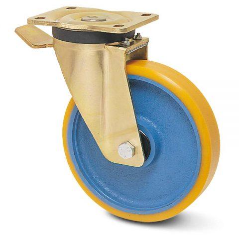 Ρόδα με φρένο βαρέως τύπου 200mm από πολυουρεθάνη με ζάντα χυτοσίδηρη με σφαιρικά ρουλεμάν.Προσαρμογή με πλάκα.