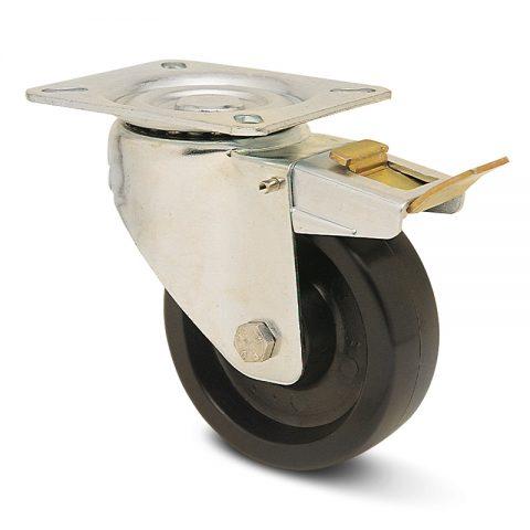 Ρόδα με φρένο για φούρνους 125mm από τροχό υψηλών θερμοκρασιών με σφαιρικά ρουλεμάν.Προσαρμογή με πλάκα.
