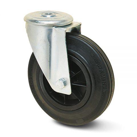 Περιστρεφόμενη ρόδα για καρότσι 140mm με μαύρο λάστιχο,πλαστική ζάντα χωρίς ρουλεμάν.Προσαρμογή με τρύπα.