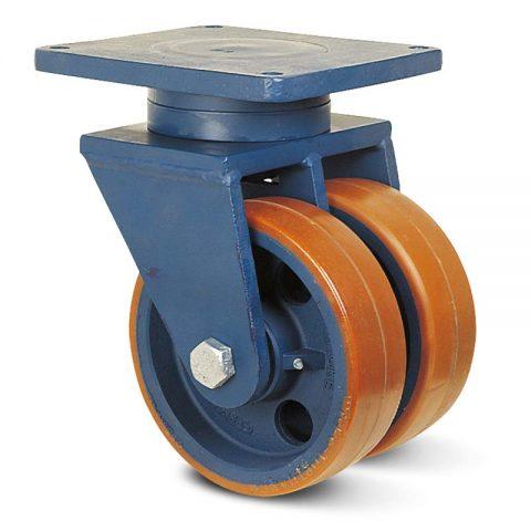 Περιστρεφόμενη ρόδα βαρέως τύπου 300mm από πολυουρεθάνη με ζάντα χυτοσίδηρη με σφαιρικά ρουλεμάν.Προσαρμογή με πλάκα.