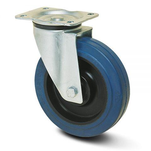 Περιστρεφόμενη ρόδα για καρότσι 125mm με μπλε λάστιχο,ζάντα πλαστικιά με μακαρωνοτό ρουλεμάν.Προσαρμογή με πλάκα.