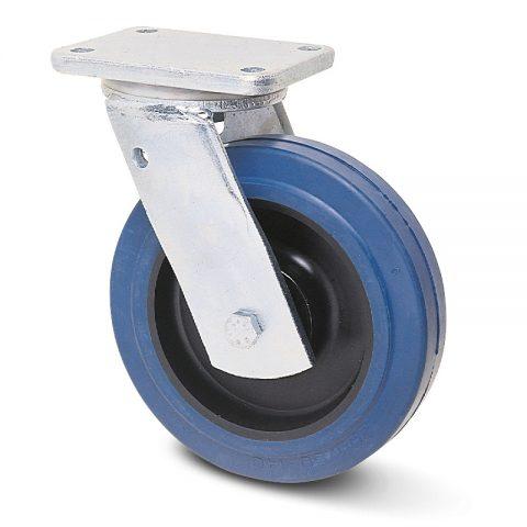 Βαρέως τύπου ρόδα περιστρεφόμενη 200mm με μπλε λάστιχο,ζάντα πλαστικιά με μακαρωνοτό ρουλεμάν.Προσαρμογή με πλάκα.