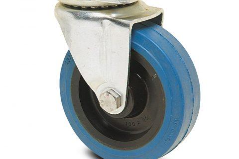 Ρόδα περιστρεφόμενη σειράς Ε  125mm με μπλε λάστιχο,ζάντα πλαστικιά με σφαιρικά ρουλεμάν.Προσαρμογή με πλάκα.