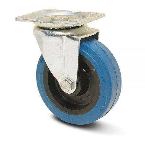 Ρόδα περιστρεφόμενη σειράς Ε  100mm με μπλε λάστιχο,ζάντα πλαστικιά με μακαρωνοτό ρουλεμάν.Προσαρμογή με πλάκα.