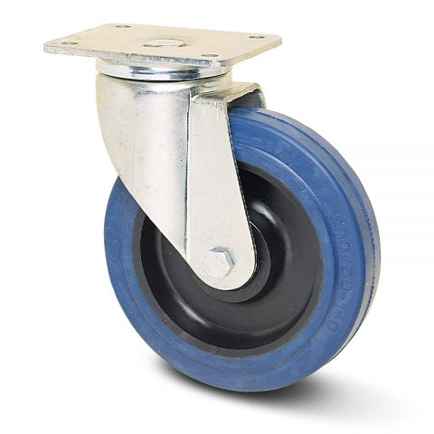 Ρόδα περιστρεφόμενη για βαριές εφαρμογές 125mm με μπλε λάστιχο,ζάντα πλαστικιά με μακαρωνοτό ρουλεμάν.Προσαρμογή με πλάκα.