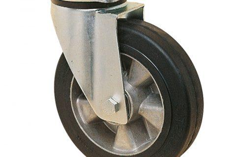 Ρόδα περιστρεφόμενη για καρότσι 125mm με μαύρο λάστιχο,ζάντα από αλουμίνιο και σφαιρικά ρουλεμάν.Προσαρμογή με πλάκα.