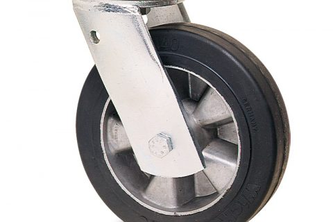 Ρόδα βαρέως τύπου περιστρεφόμενη 200mm με μαύρο λάστιχο,ζάντα από αλουμίνιο και σφαιρικά ρουλεμάν.Προσαρμογή με πλάκα.
