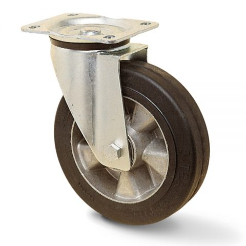 Ρόδα περιστρεφόμενη για υψηλά φορτία100mm με μαύρο λάστιχο,ζάντα από αλουμίνιο και σφαιρικά ρουλεμάν.Προσαρμογή με πλάκα.