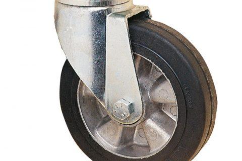 Ρόδα περιστρεφόμενη για υψηλά φορτία160mm με μαύρο λάστιχο,ζάντα από αλουμίνιο και σφαιρικά ρουλεμάν.Προσαρμογή με πλάκα.