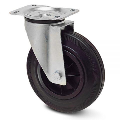 Περιστρεφόμενη ρόδα 200mm για κάδους απορριμάτων με μαύρο λάστιχο,πλαστική ζάντα με μακαρωνοτό ρουλεμάν.Προσαρμογή με πλάκα.