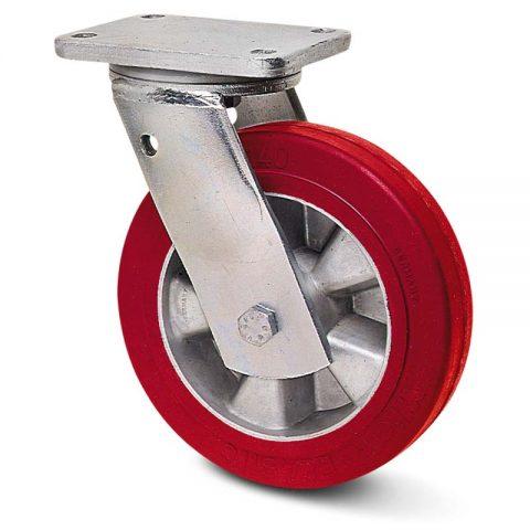 Περιστρεφόμενη ρόδα βαρέως τύπου 200mm από πολυουρεθάνη με ζάντα αλουμινένια με σφαιρικά ρουλεμάν.Προσαρμογή με πλάκα.