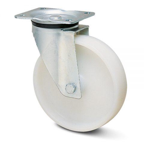 Περιστρεφόμενη ρόδα για καρότσι 200mm από νάυλον, χωρίς ρουλεμάν.Προσαρμογή με πλάκα.